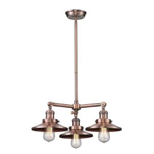 Three Light Railroad Chandelier-19 Inches Wide by 8 Inches High