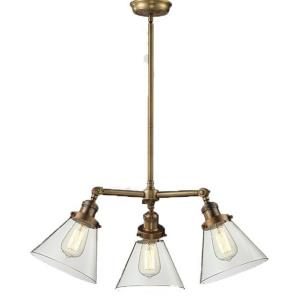 Three Light Small Cone Chandelier
