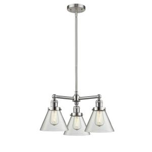 Large Cone-3 Light Chandelier in Industrial Style-22 Inches Wide by 13 Inches High