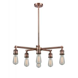 Bare Bulb-6 Light Chandelier in Traditional Style-26 Inches Wide by 6 Inches High