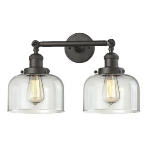 Large Bell-2 Light Bath Vanity in Industrial Style-19 Inches Wide by 12 Inches High