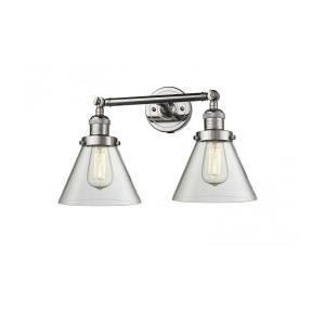 Large Cone-2 Light Bath Vanity in Industrial Style-18 Inches Wide by 11 Inches High
