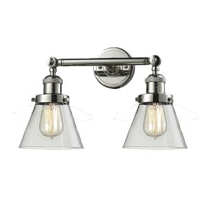 Small Cone-2 Light Bath Vanity in Industrial Style-16 Inches Wide by 10 Inches High