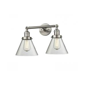 Two Light Large Cone Wall Sconce