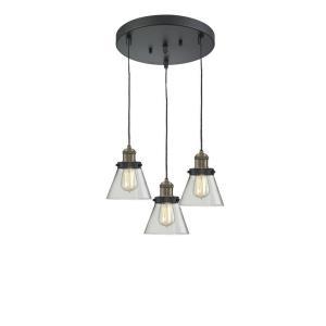 Small Cone-3 Light Multi-Pendant-12 Inches Wide