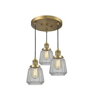 Chatham-Three Light Adjustable Cord Pan Chandelier-13 Inches Wide