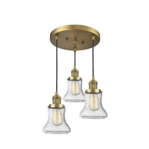Bellmont-Three Light Adjustable Cord Pan Chandelier-13 Inches Wide