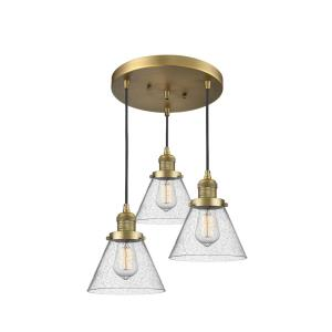 Large Cone-Three Light Adjustable Cord Pan Chandelier-13 Inches Wide