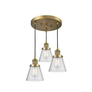 Small Bell-Three Light Adjustable Cord Pan Chandelier-12 Inches Wide