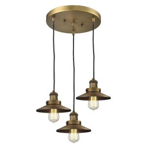 Three Light Railroad Pan Chandelier-12 Inches Wide