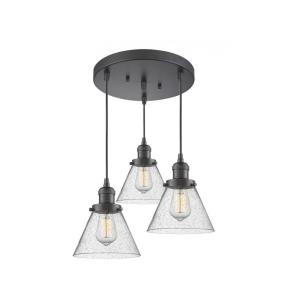 Large Cone - Three Light Adjustable Cord Pan Chandelier