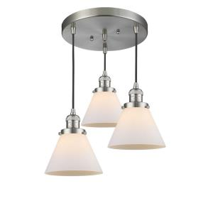 Three Light Large Cone Pan Chandelier