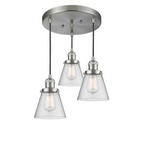 Small Bell - Three Light Adjustable Cord Pan Chandelier