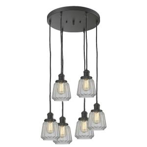 Chatham-Six Light Adjustable Cord Pan Chandelier-14 Inches Wide