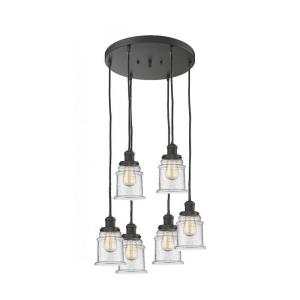 Canton - Six Light Adjustable Cord Pan Chandelier