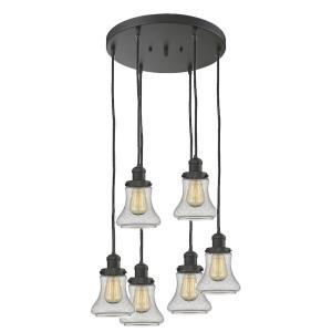 Bellmont - Six Light Adjustable Cord Pan Chandelier