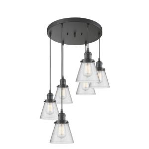 Small Bell-Six Light Adjustable Cord Pan Chandelier-12 Inches Wide