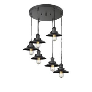 Six Light Railroad Pan Chandelier