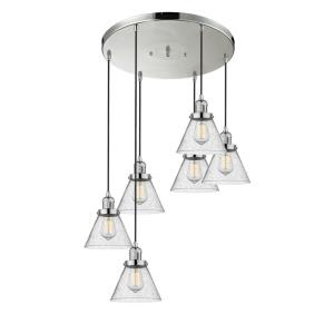 Large Cone - Six Light Adjustable Cord Pan Chandelier