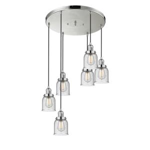 Small Bell - Six Light Adjustable Cord Pan Chandelier