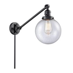 Large Beacon-1 Light Swing Arm Wall Mount in Industrial Style-8 Inches Wide by 25 Inches High