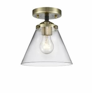 Large Cone-1 Light Semi-Flush Mount in Industrial Style-7.75 Inches Wide by 8.38 Inches High