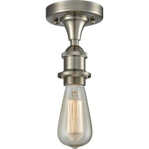 One Light Bare Bulb Semi-Flush Mount