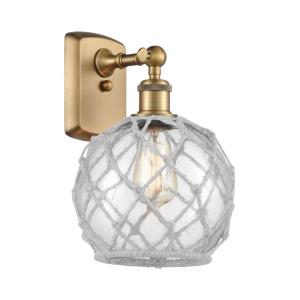 Farmhouse Rope-1 Light Wall Sconce in Industrial Style-8 Inches Wide by 13 Inches High