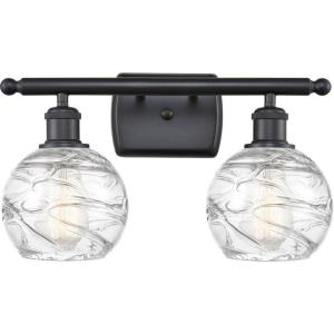 Small Deco Swirl-2 Light Bath Vanity in Industrial Style-16 Inches Wide by 11 Inches High