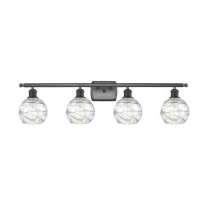 Small Deco Swirl-4 Light Bath Vanity in Industrial Style-36 Inches Wide by 9 Inches High