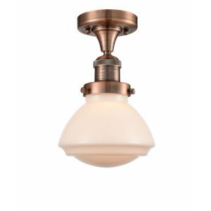 Olean-1 Light Semi-Flush Mount in Industrial Style-6.75 Inches Wide by 9.25 Inches High