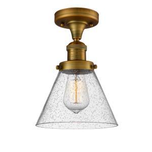 Large Cone - One Light Semi-Flush Mount