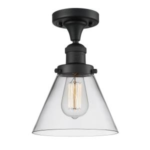Large Cone-3.5W 1 LED Semi-Flush Mount in Industrial Style-7.75 Inches Wide by 11.5 Inches High