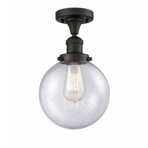 Large Beacon-1 Light Semi-Flush Mount in Industrial Style-8 Inches Wide by 13.25 Inches High
