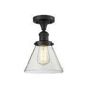 Large Cone-One Light Semi-Flush Mount-8 Inches Wide by 10 Inches High