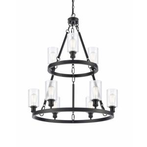 Saloon-9 Light 2-Tier Chandelier in Industrial Style-39 Inches High