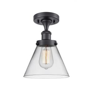 Large Cone-1 Light Semi-Flush Mount in Industrial Style-8 Inches Wide by 13 Inches High