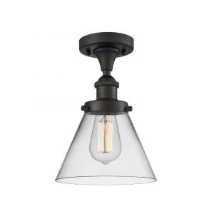 Large Cone-3.5W 1 LED Semi-Flush Mount in Industrial Style-8 Inches Wide by 13 Inches High