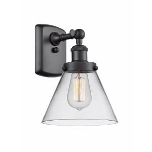 Large Cone-1 Light Wall Sconce in Industrial Style-8 Inches Wide by 13 Inches High