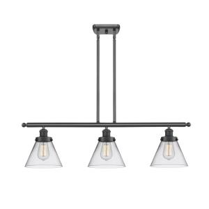 Large Cone-3 Light Island in Industrial Style-36 Inches Wide by 11 Inches High