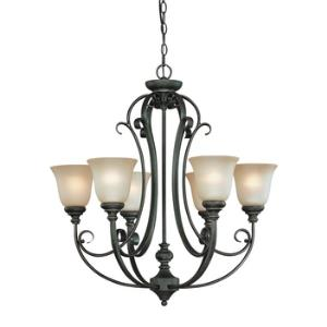Barret Place - Six Light Chandelier - 27 inches wide by 29.5 inches high