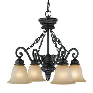Highland Place - Four Light Down Chandelier - 25.5 inches wide by 23 inches high