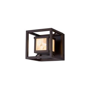 Alabaster Rocks Bayview - 6.5 Inch Square Outdoor Wall Sconce with Square Alabaster Resin Shade