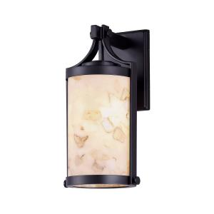 Alabaster Rocks Cypress - 16 Inch Outdoor Wall Sconce with Cylinder Alabaster Resin Shade