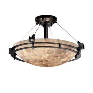 Alabaster Rocks! - Metropolis 3-Light 18 Inch Round Semi-Flush Bowl