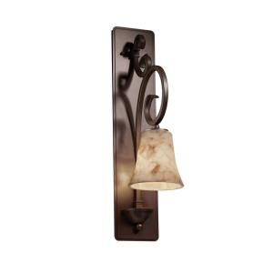 Alabaster Rocks Victoria - 23.25 Inch Tall Wall Sconce with Round Flared Alabaster Resin Shade