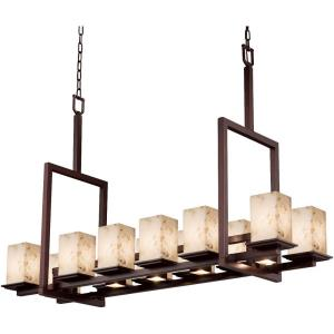 Alabaster Rocks Montana - 51 Inch Up and Downlight Tall Bridge Chandelier with Square Flat Rim Alabaster Resin Shade