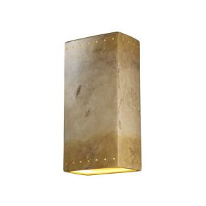Ambiance - Really Big Rectangle with Perfs Closed Top Wall Sconce