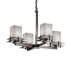 Clouds Metropolis - 25 Inch Chandelier with Square Flat Rim Cloud Resin Shades