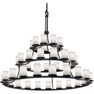 Clouds Dakota - 60 Inch 3-Tier Ring Chandelier with Cylinder Flat Rim Cloud Resin Shades